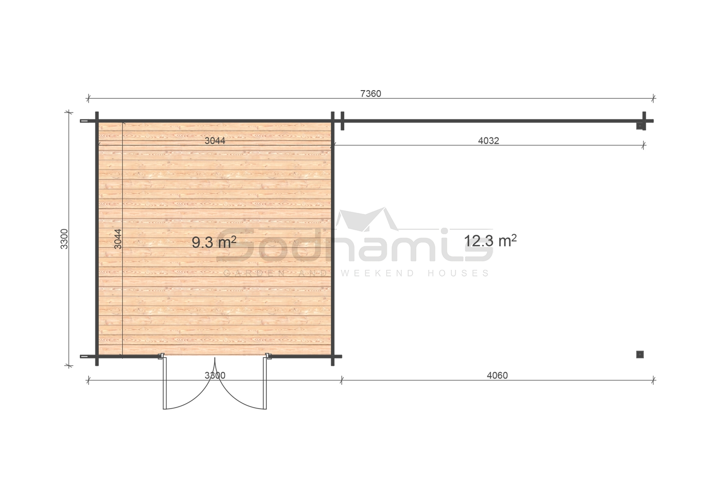Eric 3,3x7,46 28mm floor plan