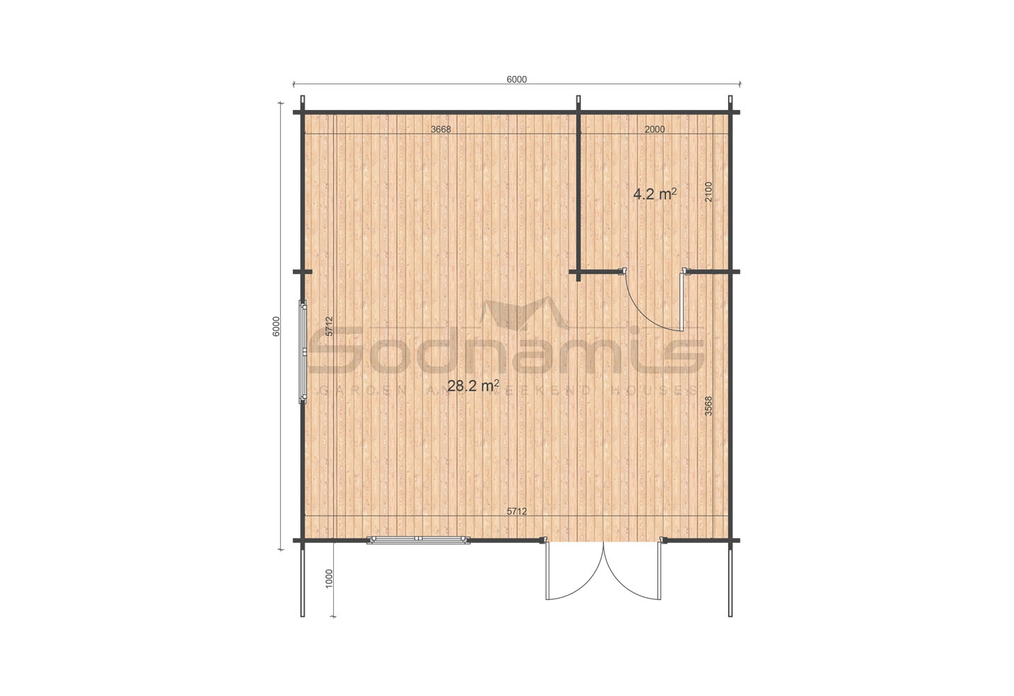 Linus 6x6 WC floor plan